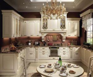 標準的な純木PVC食器棚の食器棚の湾曲のフランス様式デザイン