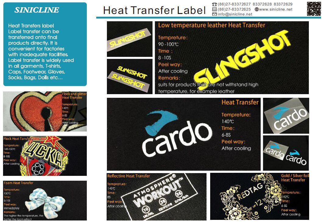Sinicline Pantone Logo Printing Iron Heat Transfer Label for Garment