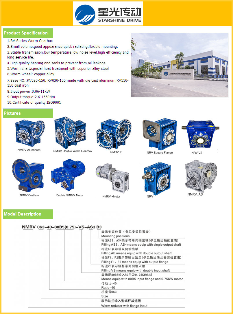 Cast Iron Reducer Worm Gearbox with Input Shaft
