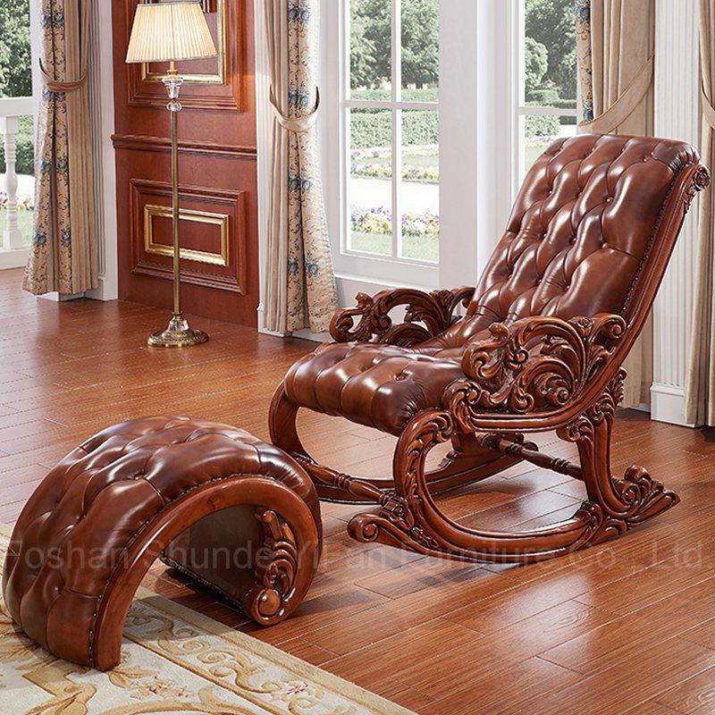 Cuero clásico Mecedoras con otomana para Muebles de Dormitorio ...