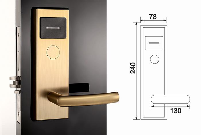 Stainless Steel Golden Electronic Keyless Smart Hotel Door Lock (SUS304)