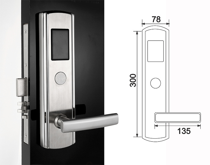 High Quality SUS304 RF Card Electronic Hotel Lock with Keys