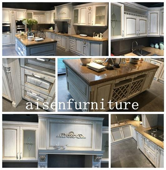 2018 pintura blanca de madera maciza hardware de marca Blum kitchen ...