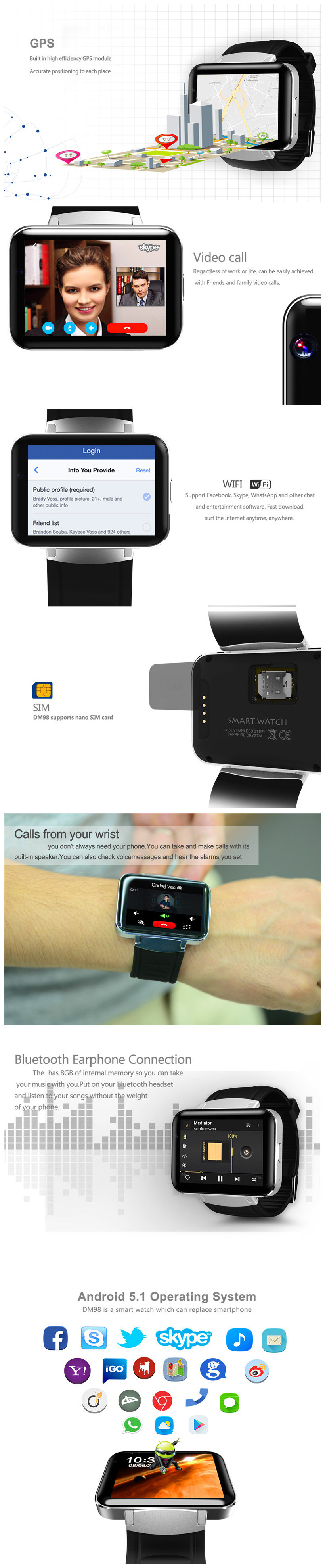 Dm98 Bluetooth Smart Watch 2 2 Inch Android OS 3G Smartwatch Phone