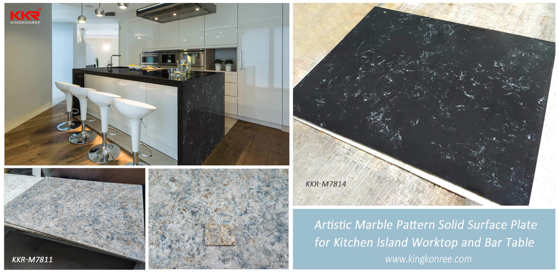 Korean Artifcical Stone 9 Pure/Modified Acrylic Solid Surface for Table  Tops/Kitchen Countertop with Smooth Veins