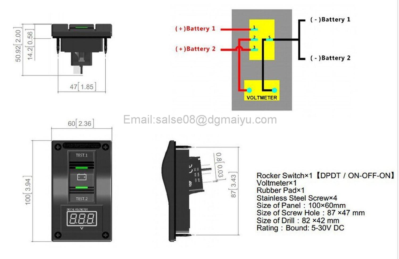 12V LED Voltmeter Battery Test Panel Rocker Switch ON-OFF-ON Car Truck Marine RV Car & Truck Parts