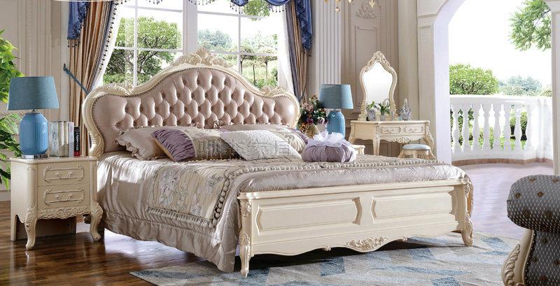 Muebles de madera europea cama King Size y cabecero de cuero (HC9021 ...