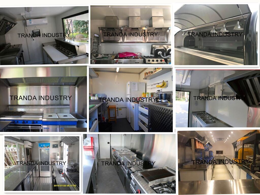 [Hot Item] Mobile Two Axle Kitchen Trailer with Cooking Equipmentshot Dog  Cart Camp Mobile Van