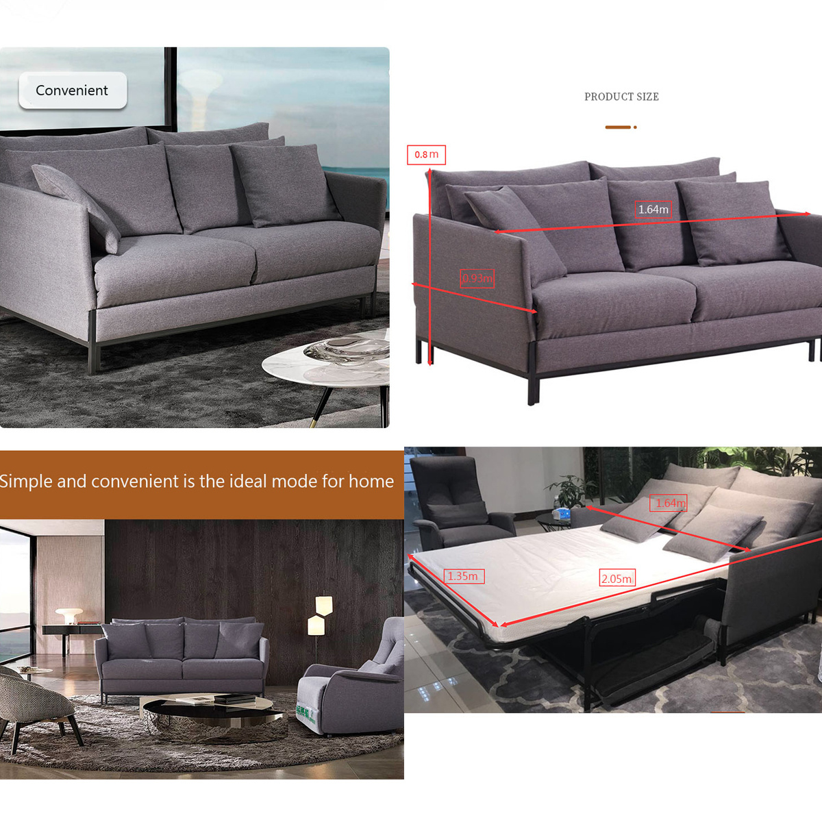 Multifunctional Foldable Double Bed Sofa Made in China