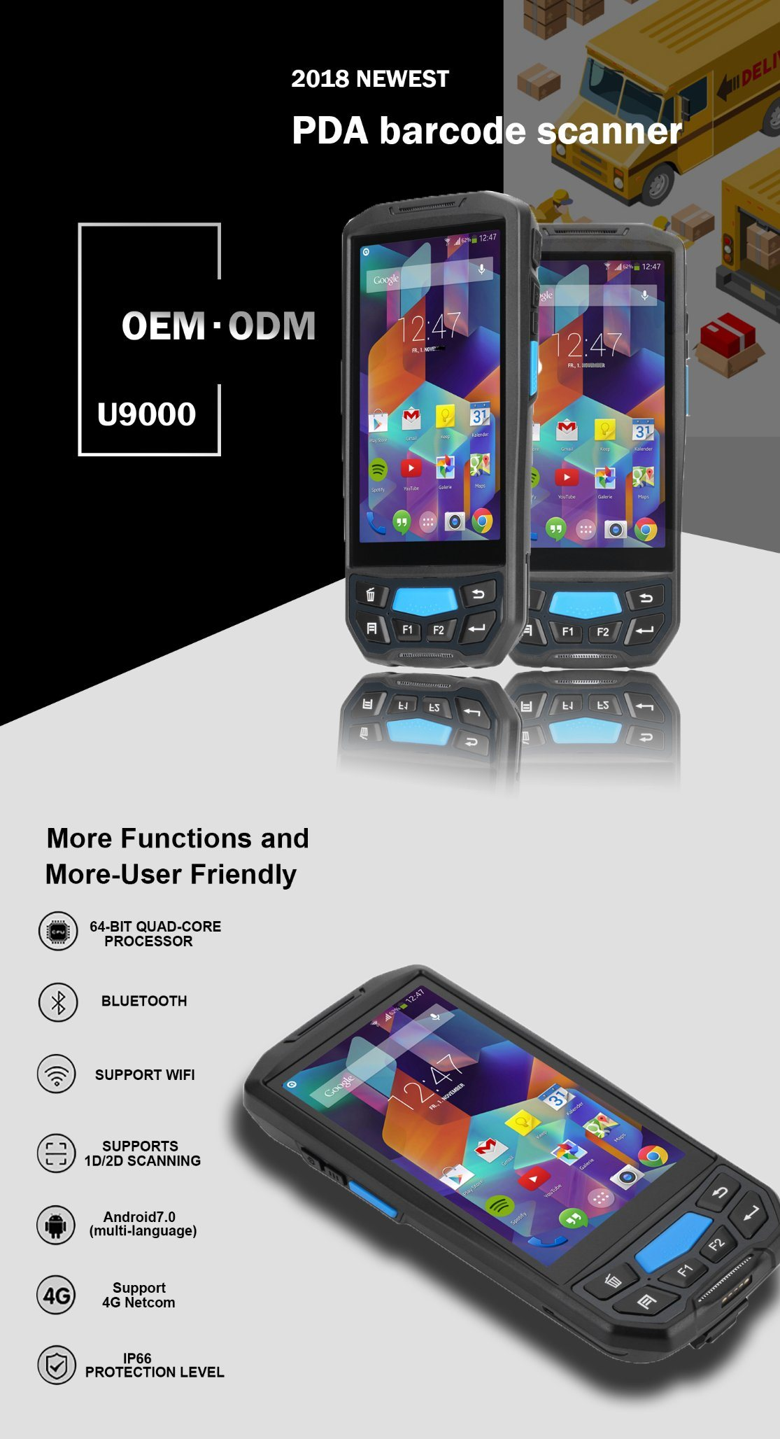 Rugged Android Handheld Terminal 1d 2D Qr Code Laser PDA Barcode Scanner  Library Book Stock Inventory