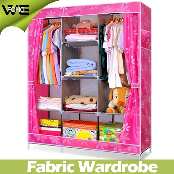 Portable simple armario mobiliario de dormitorio tela for Gabinete de almacenamiento dormitorio