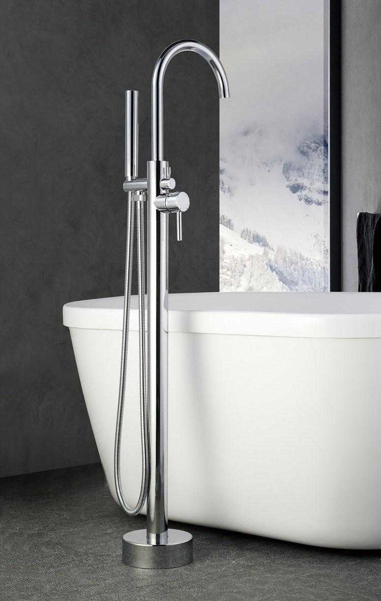 Chrome Freestanding Bath Tub Hand Held Shower Faucet Floor Mount ...