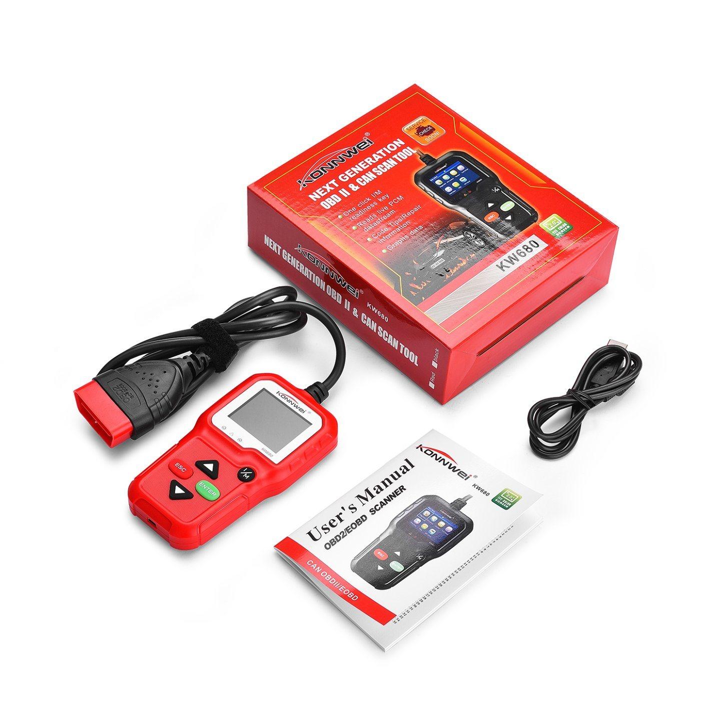 Konnwe Kw680 OBD2 Eobd Can Automotive Scanner Support SAE J1850