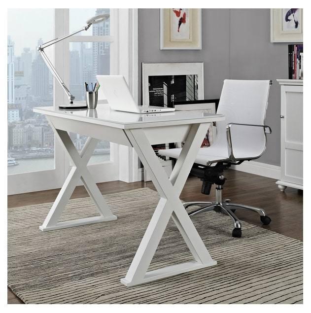 Glass Metal Computer Desk Simple, White Glass Computer Desk