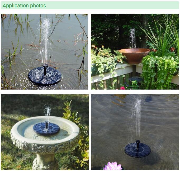 Fuente de agua flotante de la bomba solar para Baño de pájaros ...