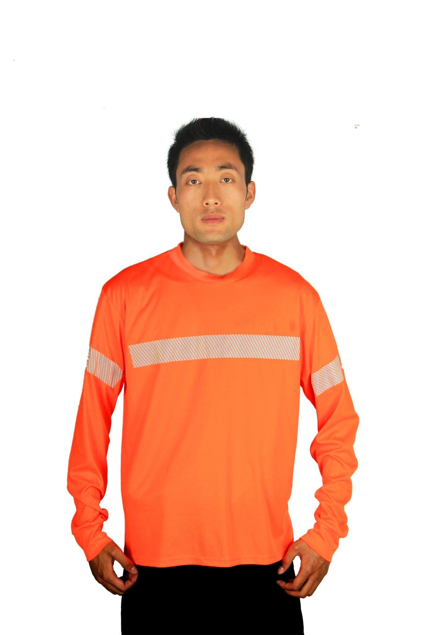 Hi Vis Reflective Work Wear Long Sleeve Safety Polo Shirt Orange