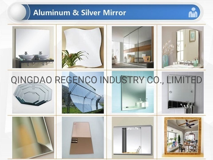 Different Size and Shape Silver / Aluminum Mirror Glass for Bathroom, Furniture, Wall From China
