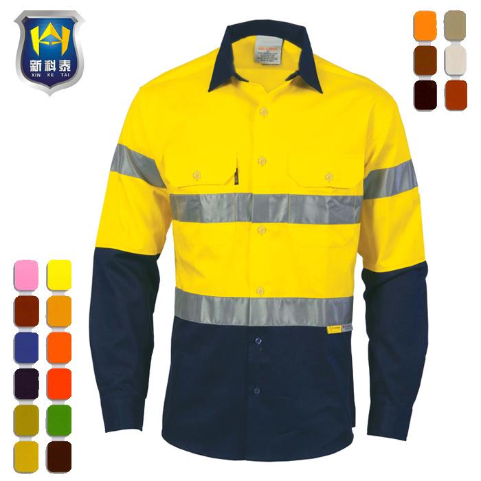 b01d36b7adab8 Dos tonos de reflectantes camisa de trabajo para la construcción jpg  700x700 Camisas de construccion