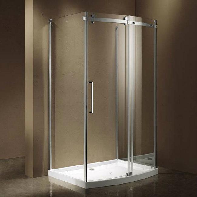 Shower Enclosure With Bow Front Single Sliding Door Paneland 2 Side Panels More Details