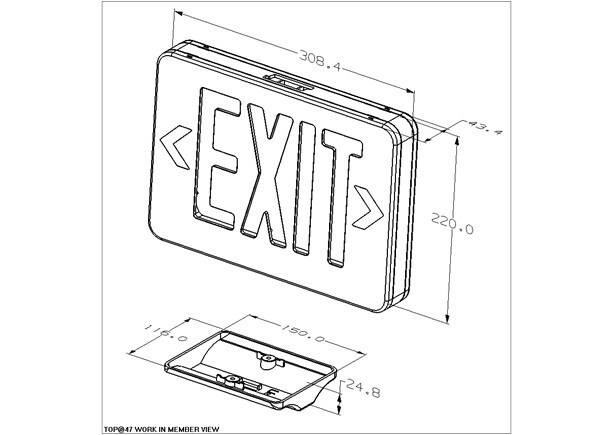180mins Fire Retardant ABS UL LED Exit Sign