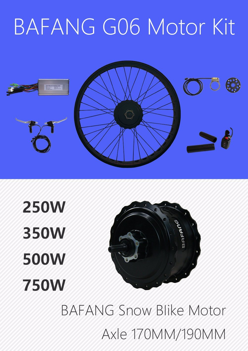 [Hot Item] Electric Bike Conversion Kit 250W 350W 500W 750W 8 Fun Bafang  G06 Rear Wheel Hub Motor Kit