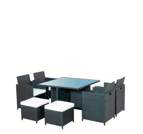 Patio exterior negro muebles de ratán con 8 plazas – Patio exterior ...