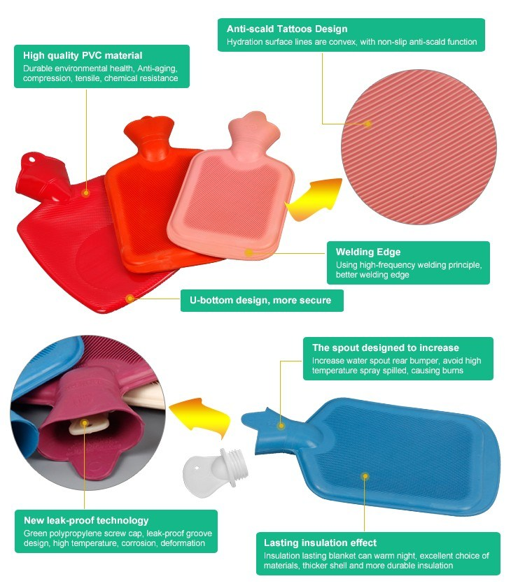 Manufacture Rubber Hot Water Bottle with Good Quality
