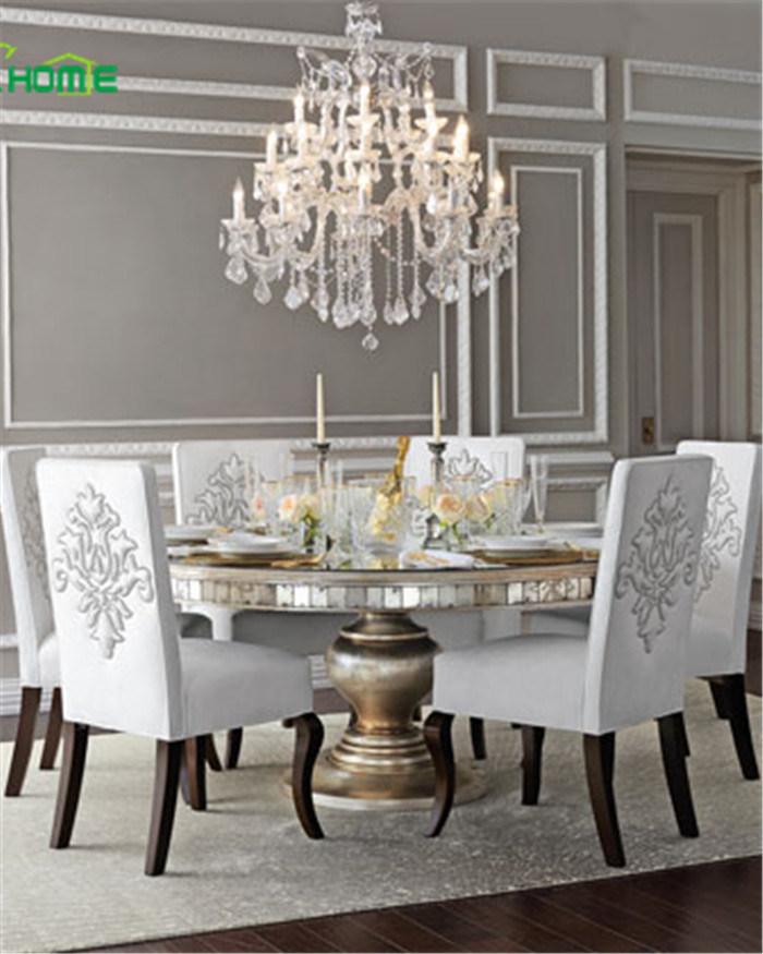 Barata Ronda brillante Cristal mesa de comedor con patas de madera ...