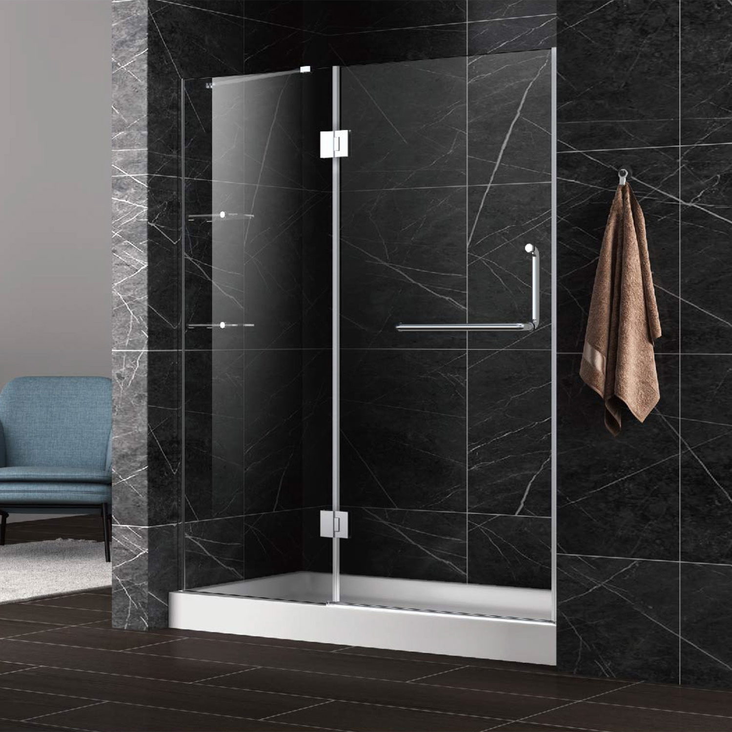 Frameless Hinged Shower Door Screen With Stainless Steel Towel Bar China Shower Door Shower Enclosure Made In China Com