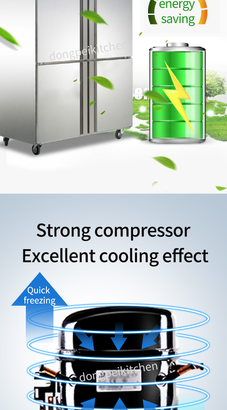 Commercial 4 Doors Static Cooling Refrigerator / Upright Freezer