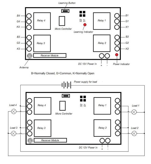 4 Channel 1000-5km RF Remote Control Switch 220V / 12V/ 24V Kl-K400c