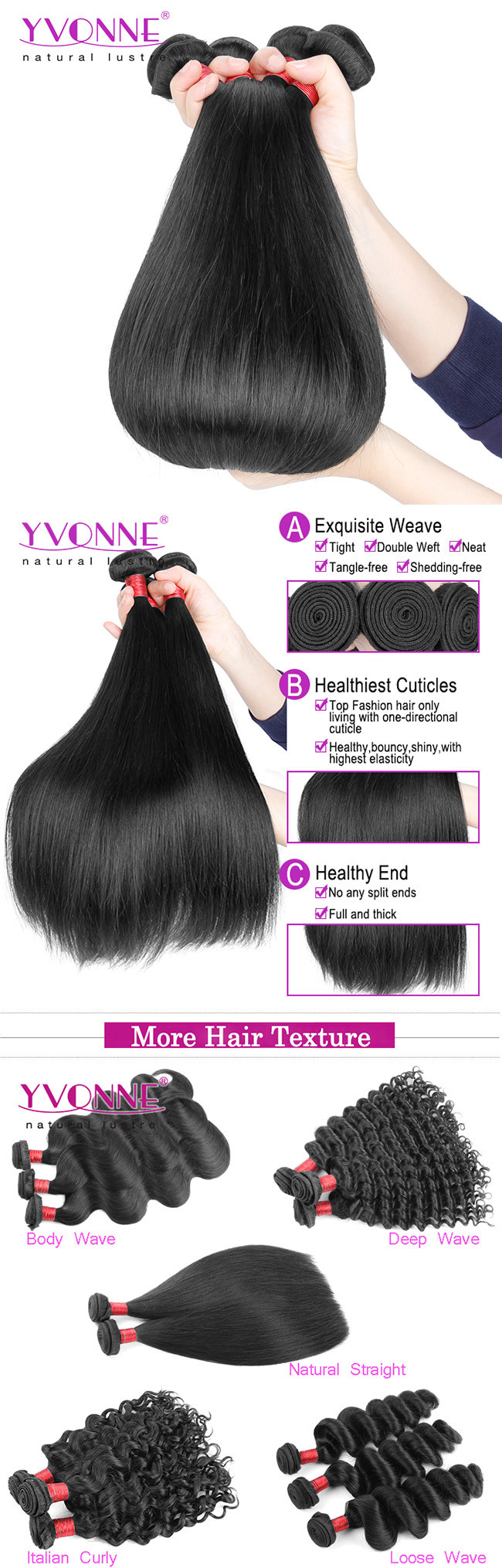 Yvonne Hot Selling 8a Brazilian Natural Straight Human Hair Weave