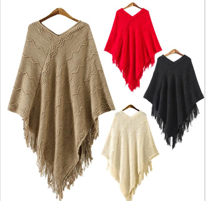 2017 de lana suéter de moda mayorista Poncho Poncho de lana de ...