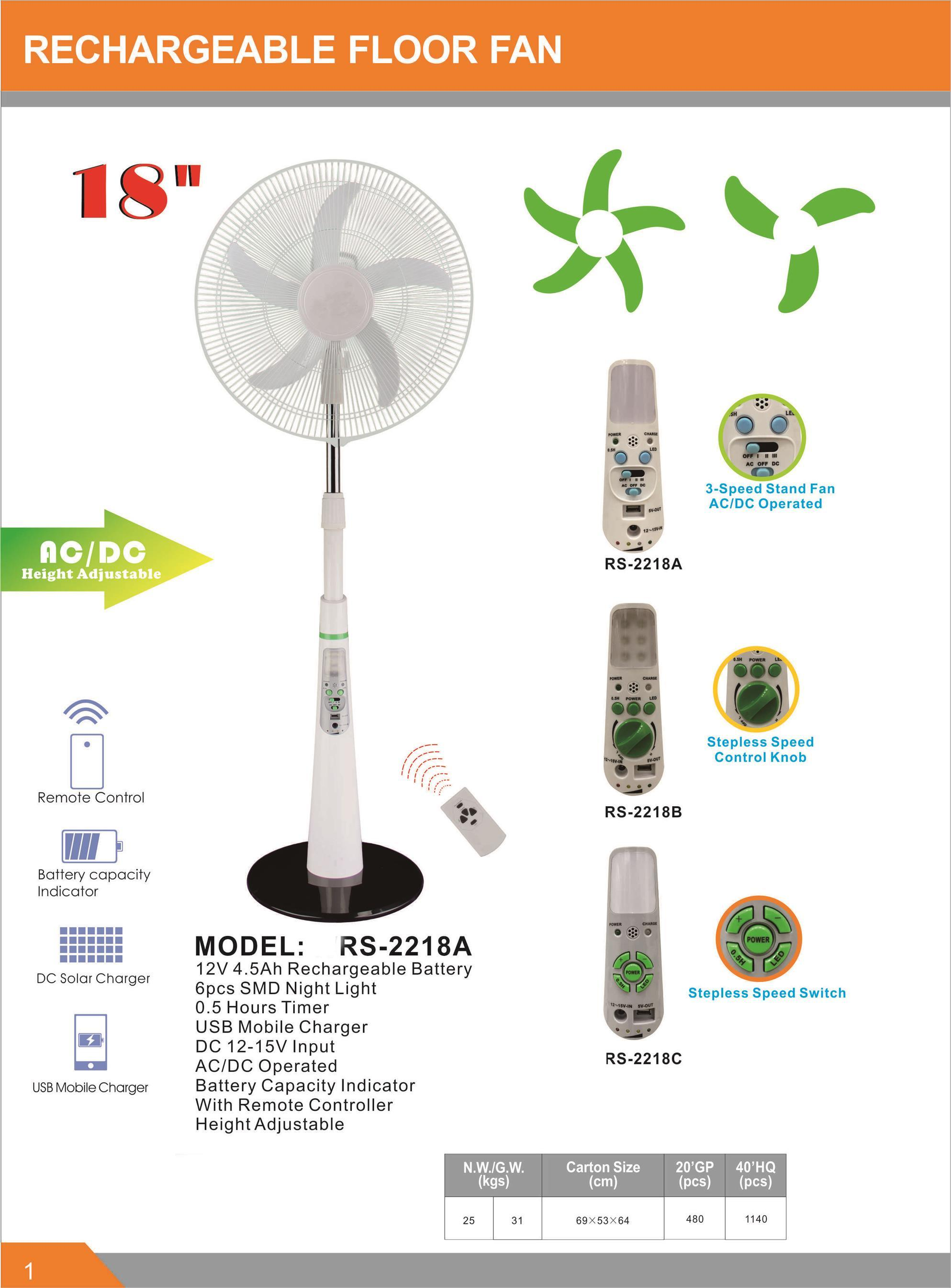 16inch Energy Saving 12V Solar Rechargeble Stand Fan for Africa