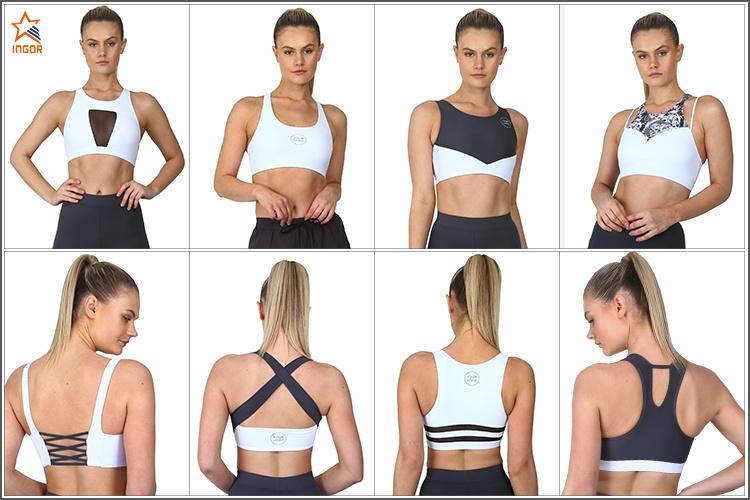 Wholesale Latest Womens Active Wear Clothing Sexy Plain Strappy Yoga Sports Bra Fitness Custom Logo