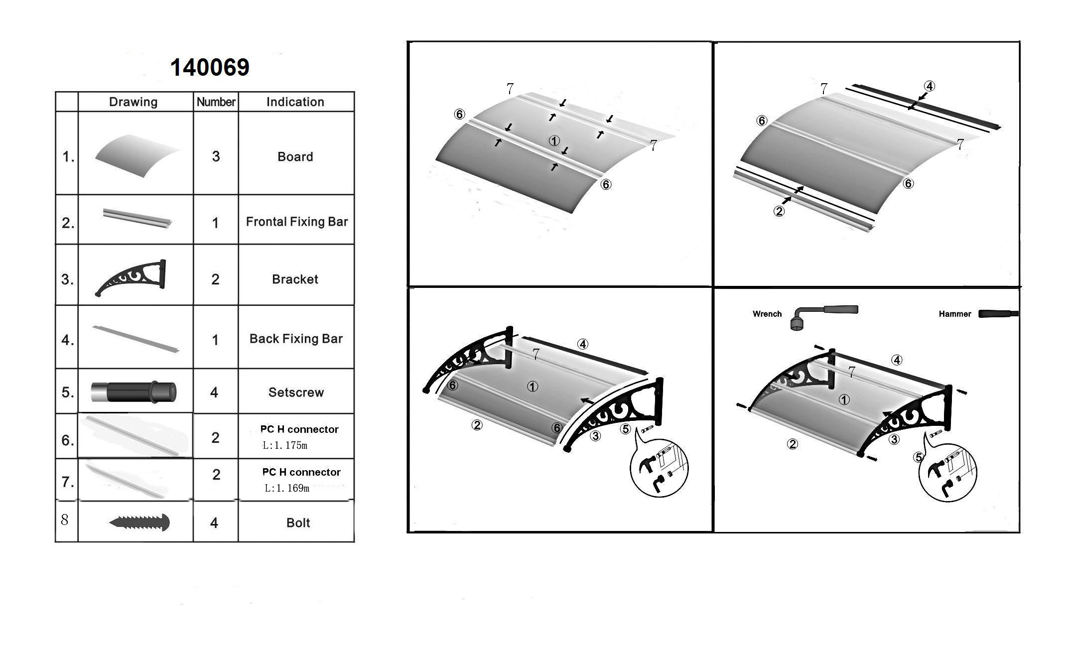 Strong Aluminum Carport with Polycarbonate Sheet for Car Parking