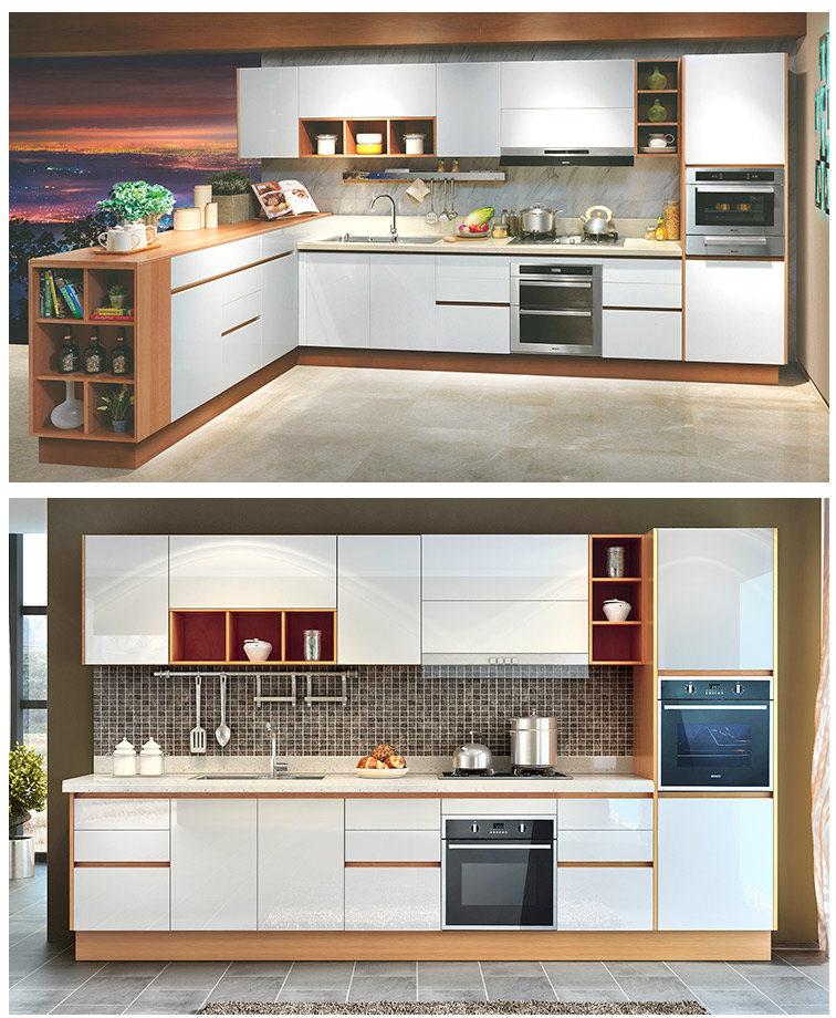 Oppein blanco moderno piso laminado de madera armarios - Armarios modulares ...