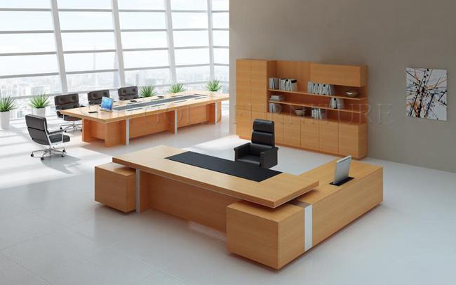 Houten Bureau Gebruikt.Het Houten Moderne Uitvoerende Bureau Van Het Bureau Het Gebruikte