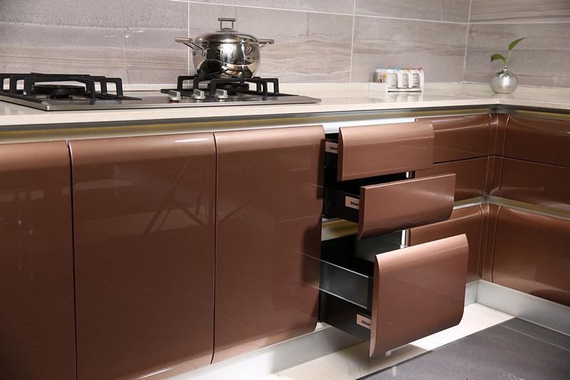 MDF color marrón brillante contemporáneo pintura horneada armarios ...