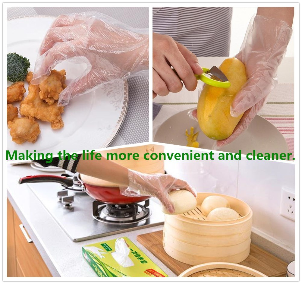 High Quality Cast Poly Embossed PE Plastic Gloves