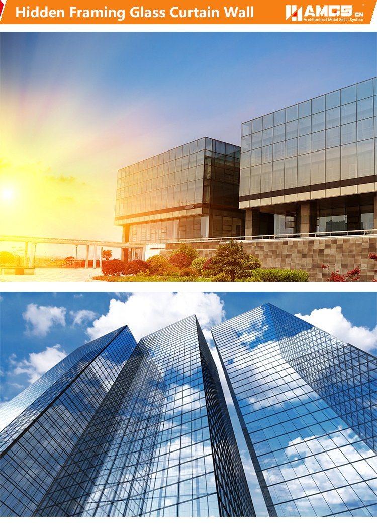 Edificio comercial reflectivo de encuadre oculta/Low-E del sistema ...