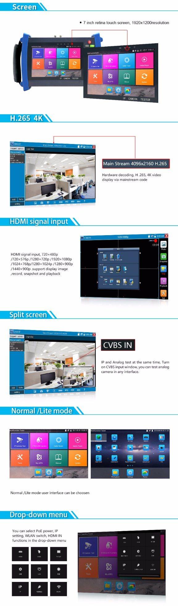 7 Lcd Portable Cctv Video Test Monitor For Ipc Ahd Hd Tvi Cvi Ip Camera Tester Inch Ipcahdhd Tvicvisdi Security Multi Function