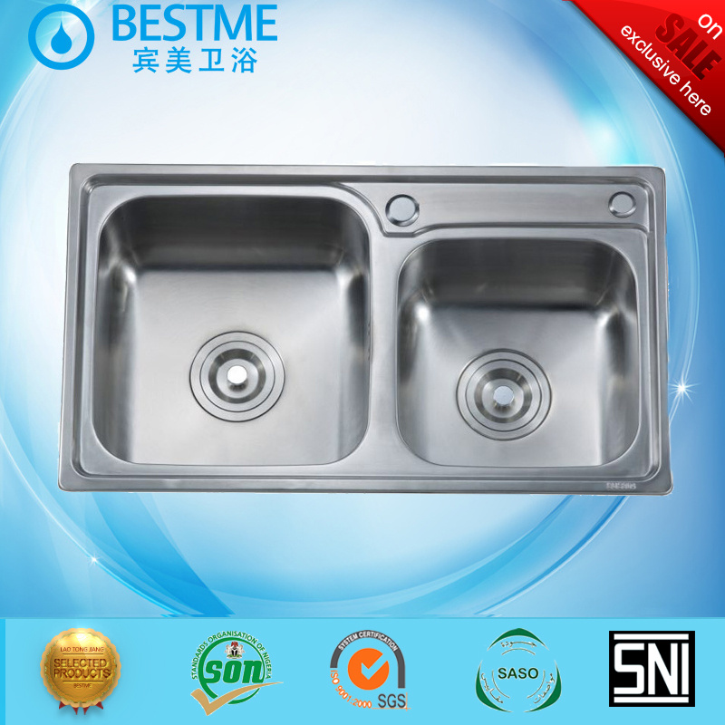 32 Inch Drop In Stainless Steel Double Bowl Different Size Kitchen Sink Bs 8002 China Kitchen Sink Stainless Steel Kitchen Sink Made In China Com