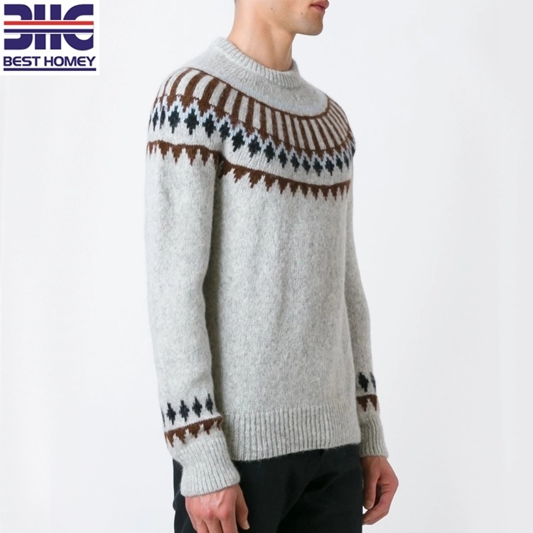 Mezcla de lana de alpaca de manga larga de tejido de diseño de ...