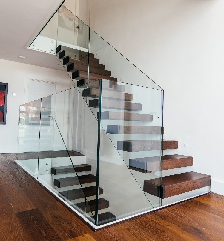 Delicate Steel Floating Wood Stairs Stringer Gl Stair Railing Cantilevered Staircase China Straight Made In