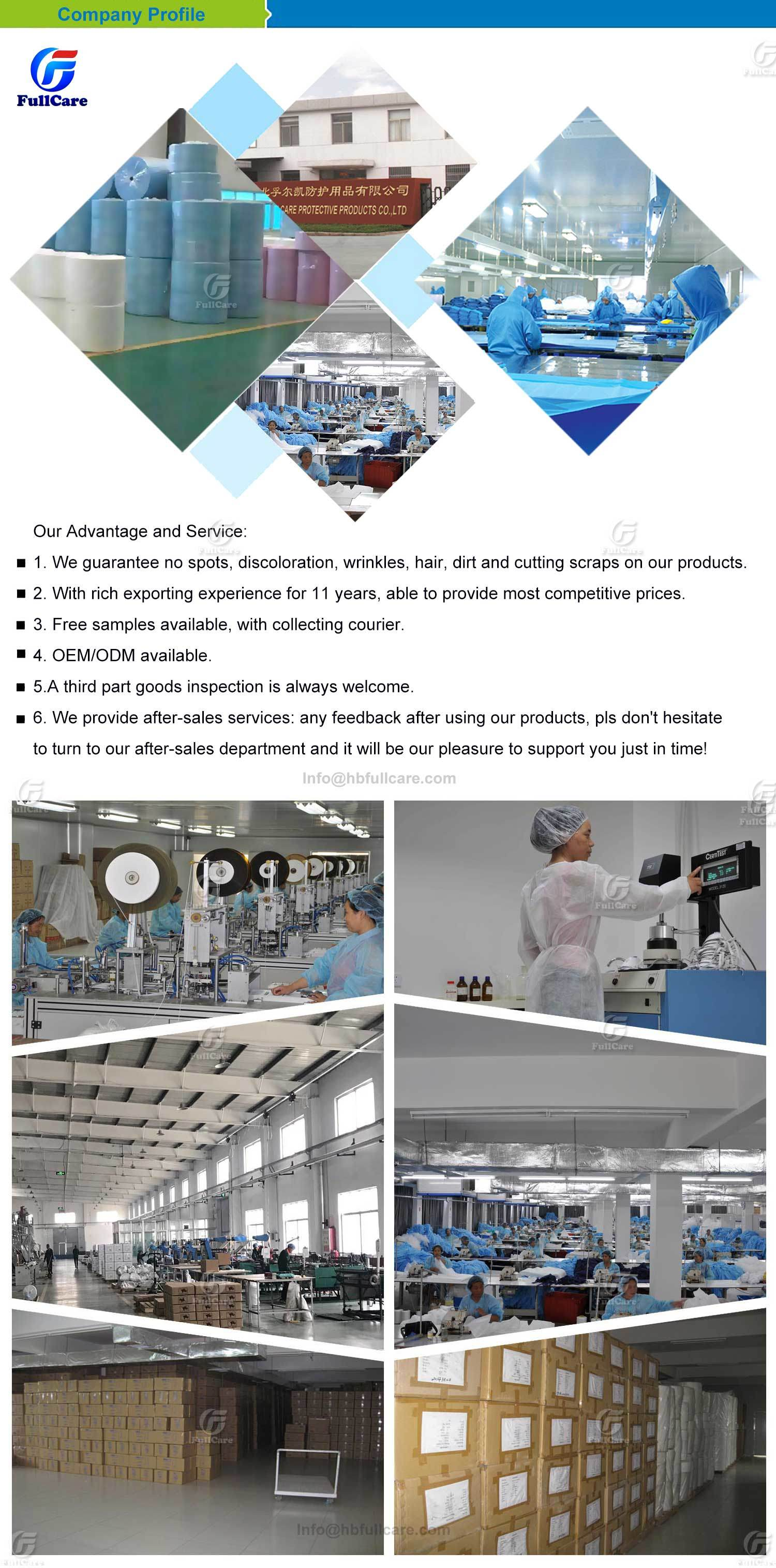 Waterproof Microporous Medical Hospital Plastic Poly PE PP+PE PP SMS Overall Polypropylene Nonwoven Disposable Protective Gown Garment Workwear Coat Coverall