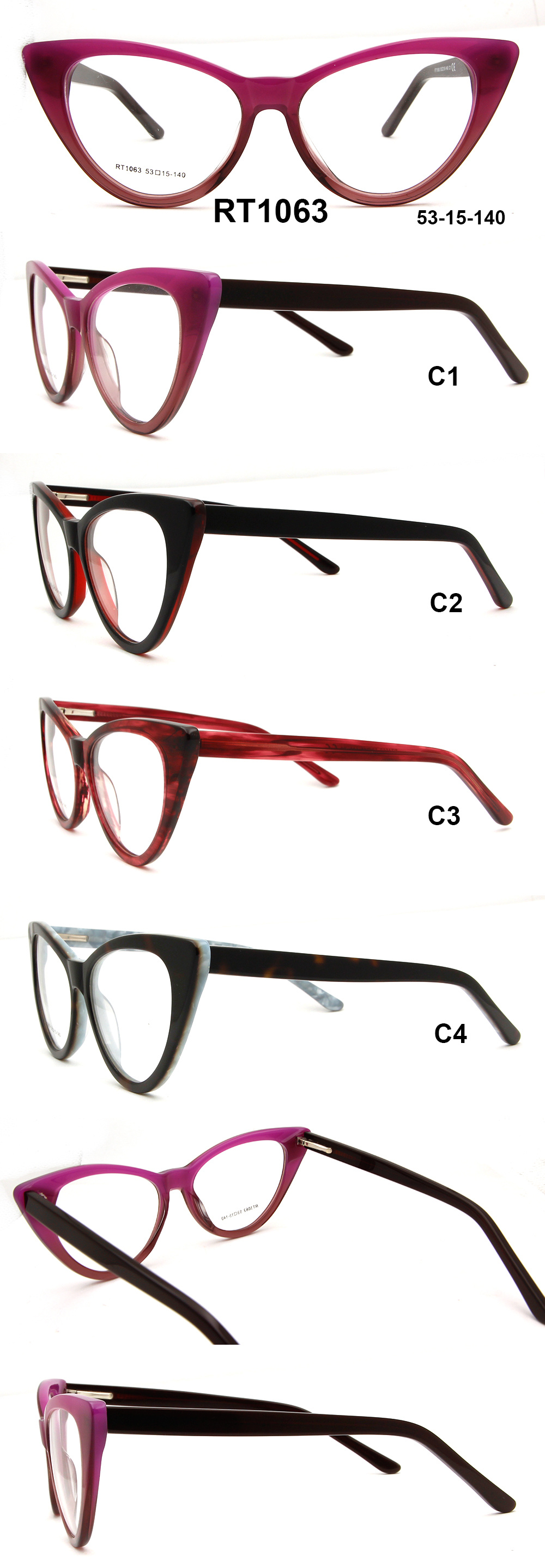 698ca5d17594 No Moq New Years 2019 Glasses Top Sale Acetate Eyeglass Frame Cat