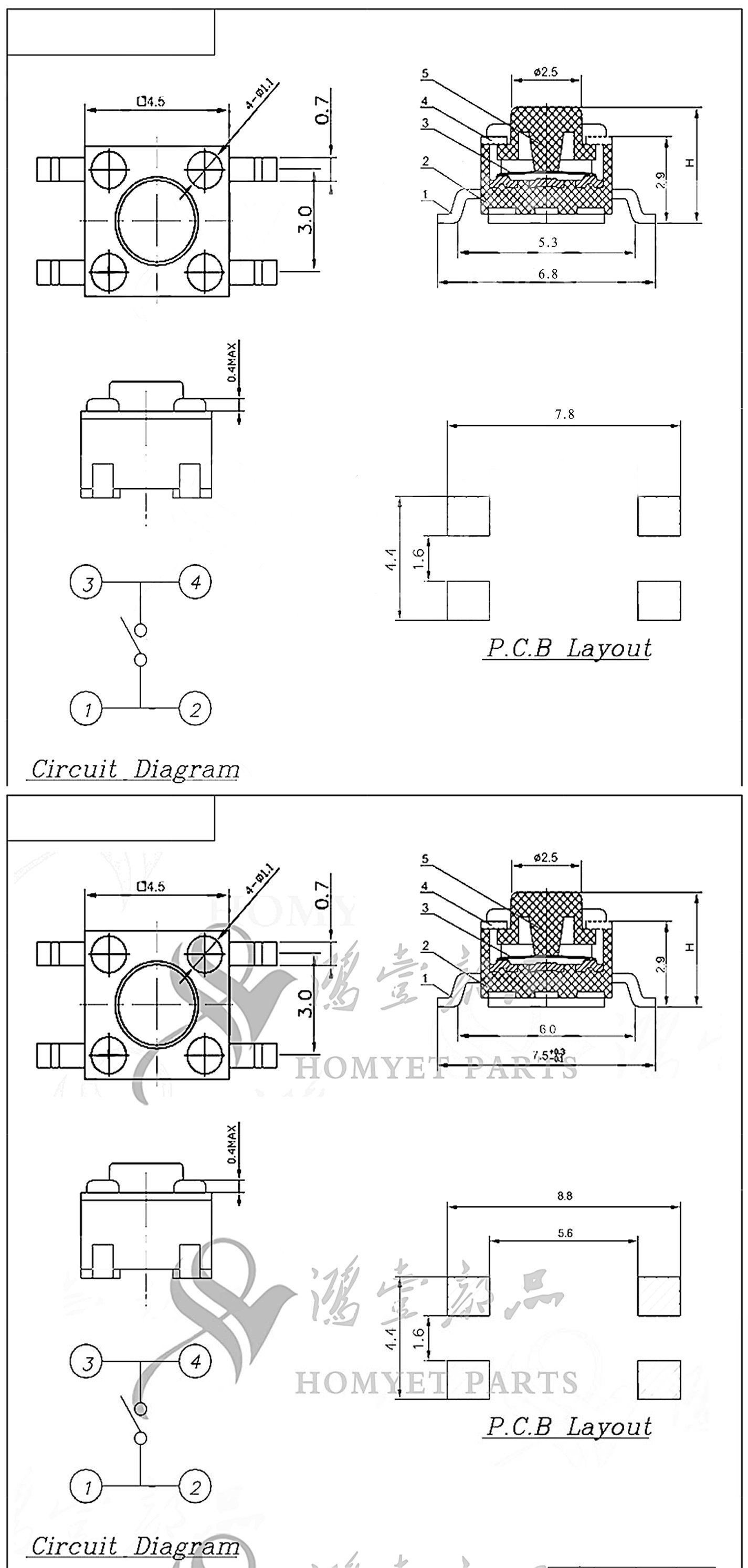 4 5*4 5mm 4pin smt tactile switch smd tact switch (hy 1109s) china  product detail show