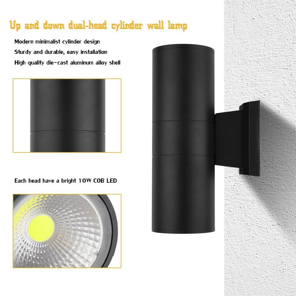 Led Wall Lamp Cylinder Cob 20w Light Ip65 Waterproof Wiring Sconce Electrical Wires Coming Directly Out Of The And Not Through An Box You Dont Need To Install This On Top A Wire Junction Unless