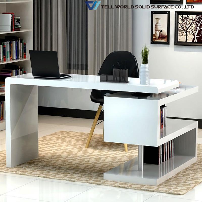 Modern White High Gloss Managing Laptop, White Modern Office Desk